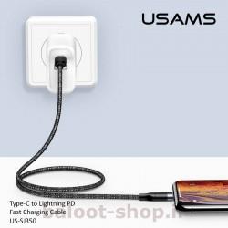 کابل شارژ و داده یوسمز مدل U31 نوع Type-C به Lightning با قابلیت PD فست شارژینگ