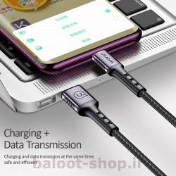 کابل شارژ و داده یوسمز مدل U24 نوع Type-C دارای قابلیت شارژ و انتقال اطلاعات بین گوشی و کامپیوتر با سرعت بالا
