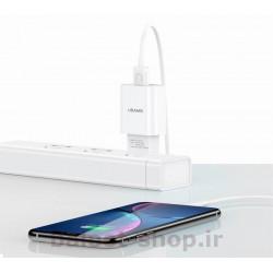 شارژر دیواری یوسمز مدل T21 با یک خروجی USB فست شارژ 2.1 آمپر مناسب برای شارژ انوع محصولات اپل دارای سوکت Lightning