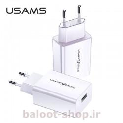 شارژر دیواری یوسمز مدل T22 دارای یک خروجی USB با قابلیت QC 3.0 فست شارژینگ مناسب شارژ گوشیها و  دستگاههای دارای این قابلیت