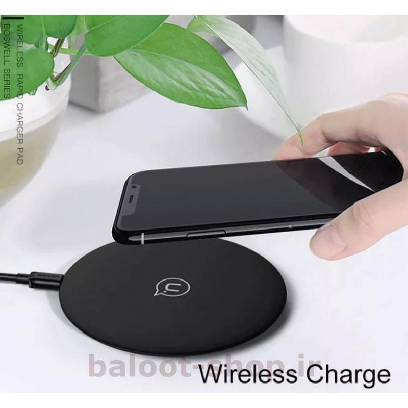 شارژر بیسیم رومیزی یوسمز مدل CD24 دارای استاندارد شارژ بیسیم Qi و قابلیت فست شارژ 10 وات مناسب گوشیهای دارای شارژ بیسیم Qi