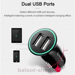 شارژ فندکی یوسمز مدل us-cc013 مینی با دو درگاه USB خروجی فست شارژ با جریان 2.1 آمپر برای شارژ همزمان دو گوشی با بدنه ضد حریق