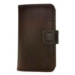 کیف و محافظ گوشی تهیه شده از چرم طبیعی و دست دوز، مناسب انواع گوشی همچون آیفون، سامسونگ و سایر مدلها، به رنگ قهوهای